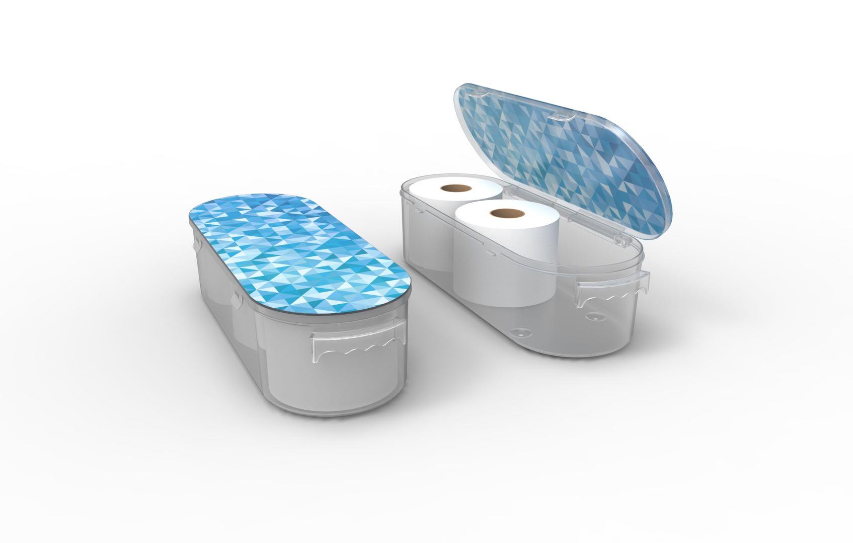 Nykia Designs Bathroom Toilet Paper Storage Solution - Blue Mosaic